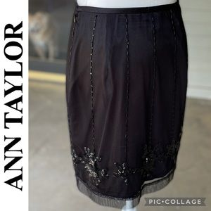 Black Sequined and Beaded Skirt